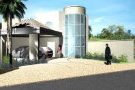 projeto casa condomínio ipe terreno 12×25 térrea mezanino vidro curvo telhado aparente arquiteto limeira
