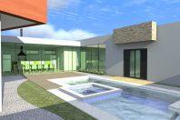 projeto casa térrea alto padrão mezanino fachada moderna terreno 20×25 500 metros 03 suítes condomínio barra lago Jaguariúna formato u volumes deslocado portao