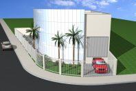 projeto construção galpão barracão arquitetura corporativa terreno esquina limeira porto real comercial pele de vidro