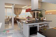 projeto decoração design interiores estilo classico padrao americano em apartamento no Guarujá praia pitangueiras banheiro casal suite master banheira imersão vista para o mar