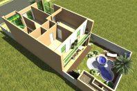 projeto planta fachada moderna terreno 10×25 sobrado 200 metros telhado embutido estilo loft integrado