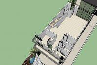 projeto planta salao comercial festas buffet casamento cerimonia terreno desnivel estrutura tensionada salao subsolo