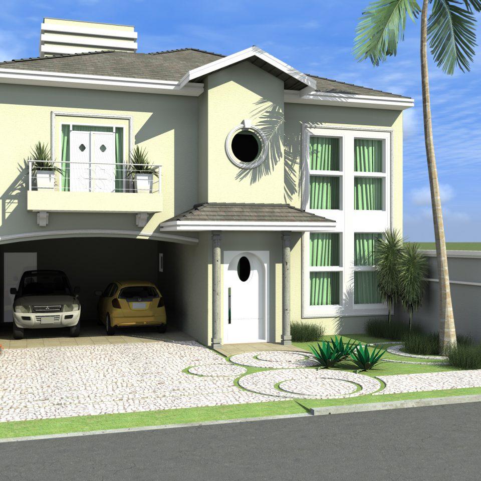 projeto sobrado clássico arquitetura clássica terreno 11×25 telhado shingle 3 suítes molduras arquiteto limeira condomínio roland