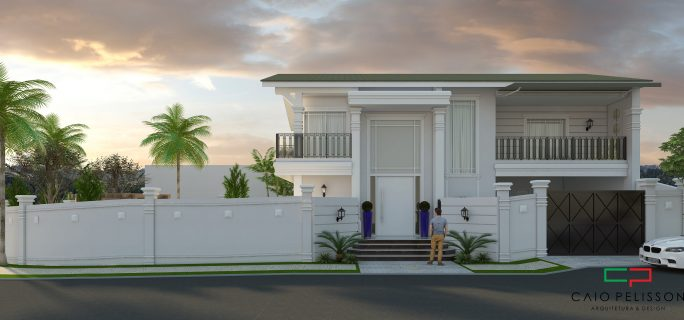 projeto casa clássica terreno esquina condomínio fachada neoclássica Limeira