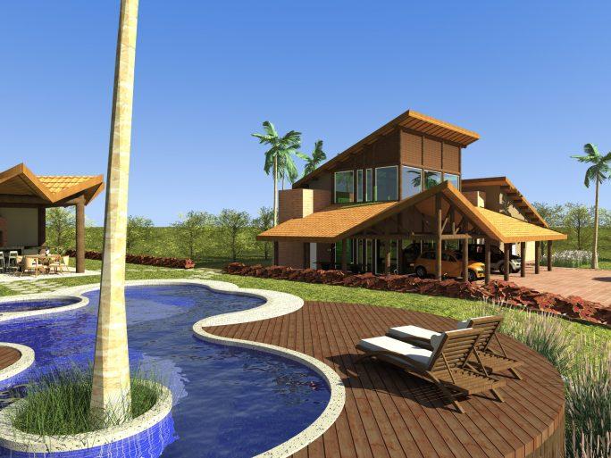 projeto casa rustica chacara madeira eucalipto telhado ceramica diferenciado ousado arquiteto limeira arquiteta campinas piscina organica
