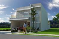 projeto casa sobrado moderno caixote fachada quadrada 03 suites telhado embutido