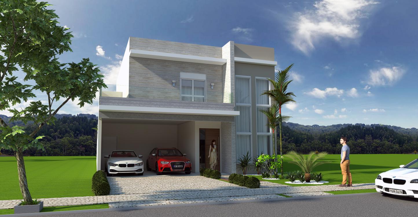 Projeto casa sobrado moderno caixote fachada quadrada 03 for Casa moderno a