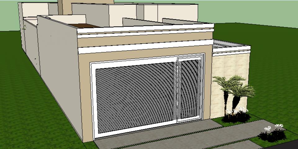 projeto planta casa térrea 03 suítes terreno 8×20 arquitetura moderna quadrada caixote telhado embutido