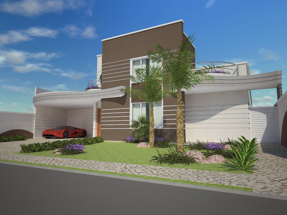 Projeto casa t rrea mezanino arquitetura moderna curvas for Casa moderna americana