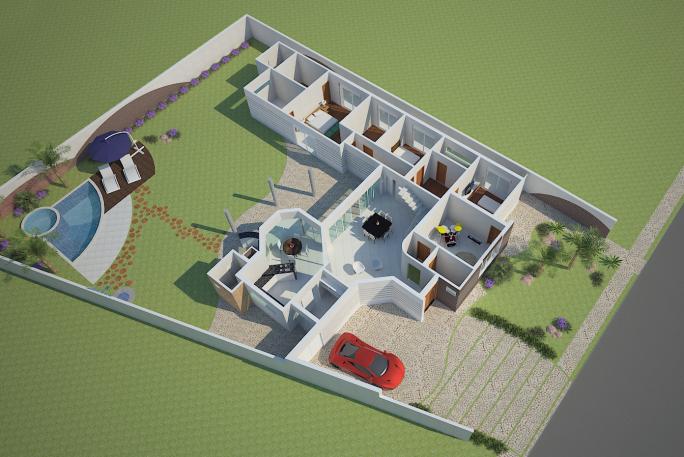 projeto casa térrea mezanino arquitetura moderna curvas círculos arquiteto aquiles americana 3 suites