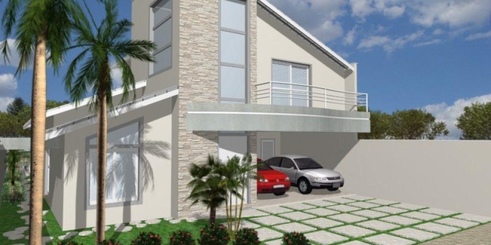 projeto casa térrea mezanino terreno 12×25 condomínio ipê limeira arquitetura moderna telhado aparente
