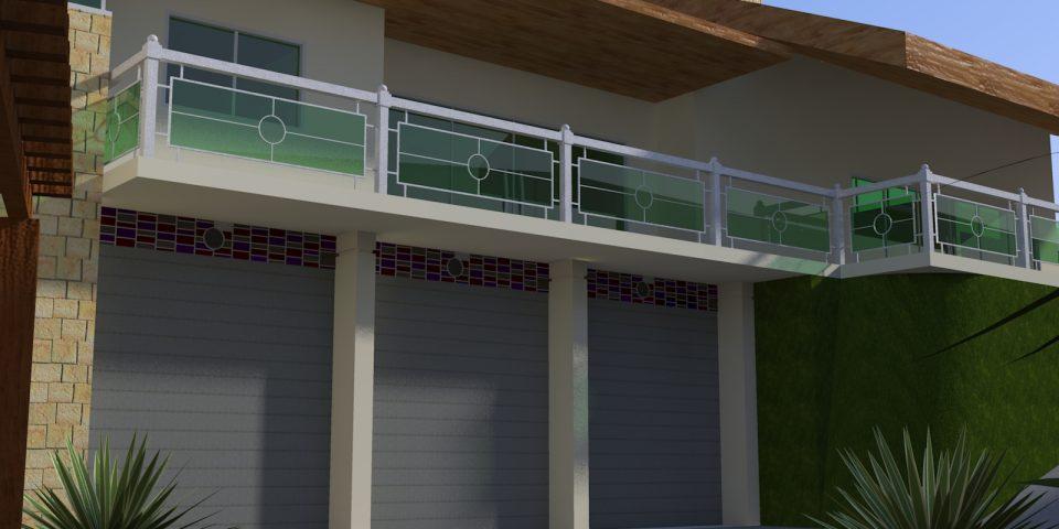 projeto casa terreno declive 200m2 6 vagas garagem subsolo estrutura metálica arquitetura inspirada campo rustico moderno