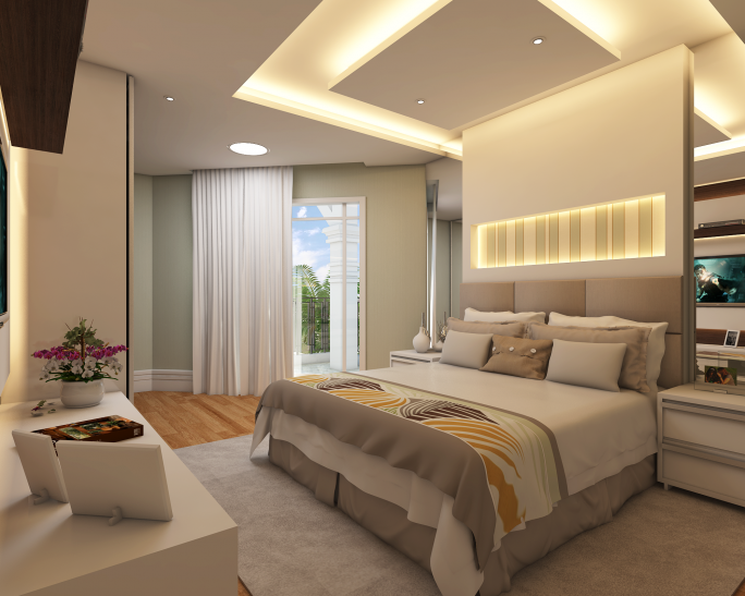 projeto decoração design interior ambiente quarto solteiro cama casal descontraído moderno elegante bom gosto alto padrão arquiteto limeira