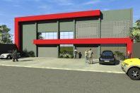 projeto fachada moderna comercial galeria lojas avenida costa silva limeira chapas volumes