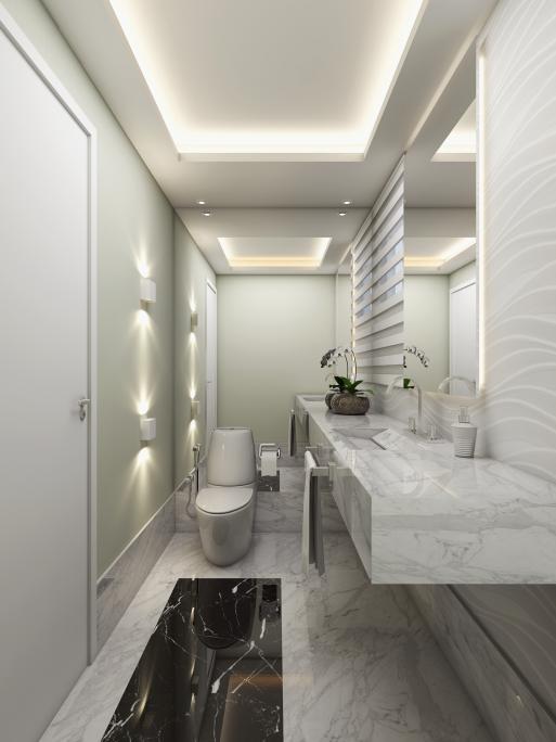 projeto reforma lavabo moderno pedra branca preta marmore carrara iluminacao arquiteto decoradora