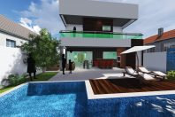 projeto sobrado arquitetura fachada moderna viga grande condominio limeira arquiteto contemporanea modernista caixote quadrado