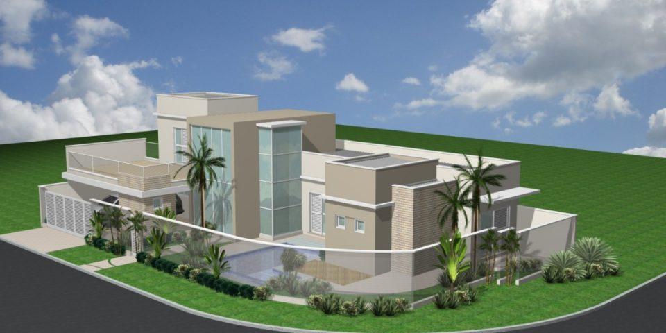 casa térrea esquina projeto arquitetura moderna 3 suítes telhado embutido fachada reta bastante vidro