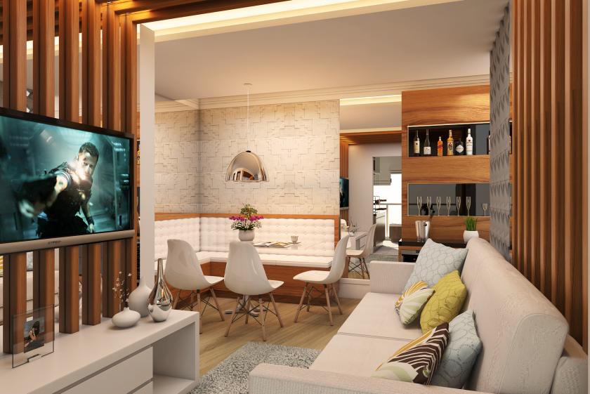Projetos de ambientes para apartamentos pequenos for Interiores de apartamentos
