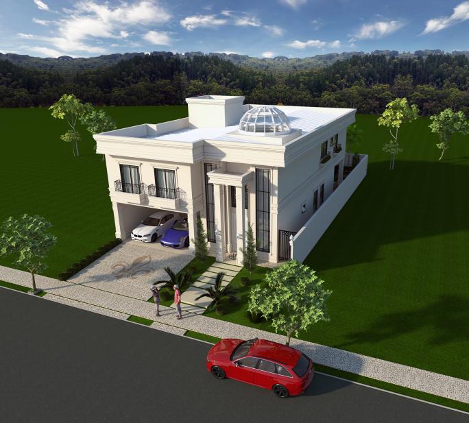 projeto casa sobrado arquitetura neoclássica telhado embutido terreno 12x30 com claraboia no teto da sala