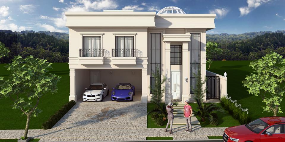 projeto casa sobrado arquitetura neoclássica telhado embutido terreno 12×30 com claraboia no teto da sala condomínio swiss park campinas