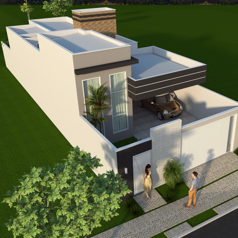 projeto construção casa térrea moderna terreno 8×25 125 metros 3 suítes lazer integrado