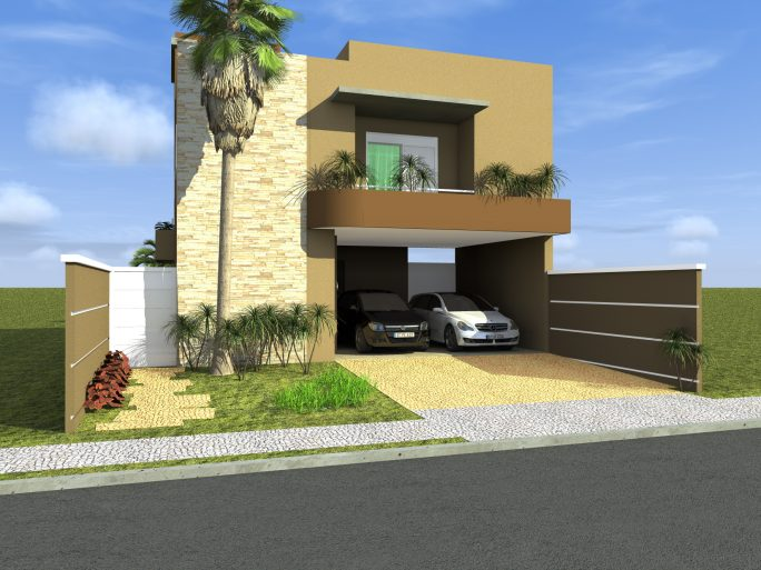 projeto sobrado fachada contemporânea terreno 11x25 condominio terras sao bento limeira quadrado cubo caixote moderna arquiteto