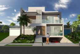 projeto casa sobrado fachada moderna reta garagem subsolo rebaixada alphaville arquitetura contemporânea