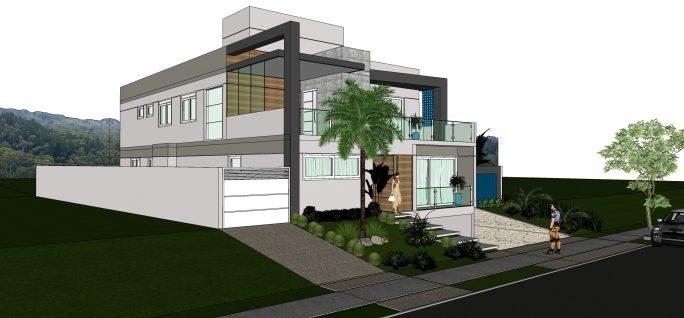 Projetos de casas com garagem subterr nea subsolo for Casa moderna 7x20