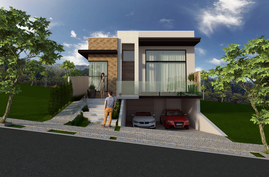 Projeto casa t rrea planta fachada moderna terreno 10x30 for Casa moderna 2017 espositori