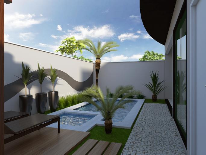 projeto casa térrea alto padrão planta fachada moderna terreno 10x30 garagem subterrânea
