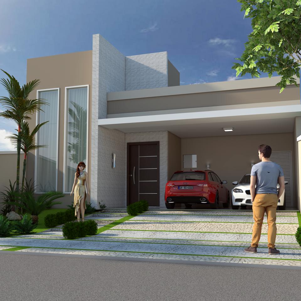 projeto planta construir casa térrea moderna terreno 10×25 150m2 telhado escondido fachada reta caixote arquiteto limeira
