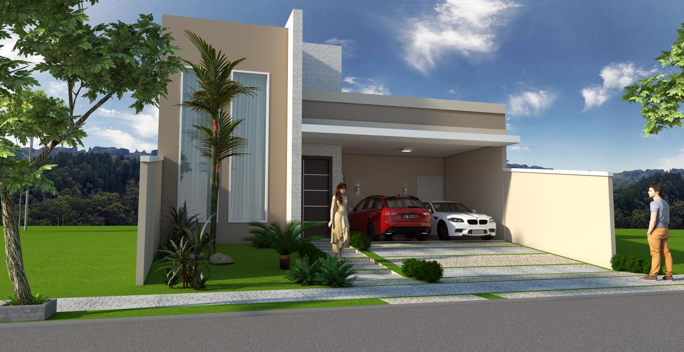Projeto planta construir casa t rrea moderna terreno 10x25 for Casa moderna 60 m2