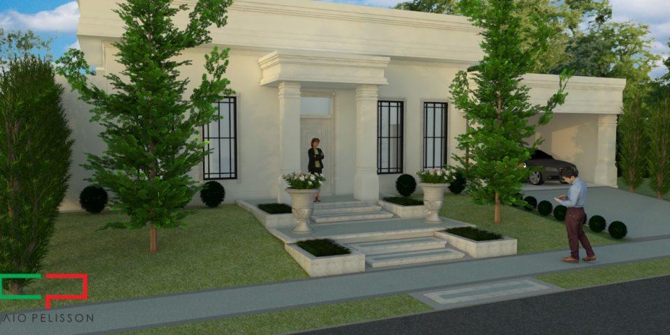 casa térrea fachada neoclássica condomínio bege limeira ilha di bali