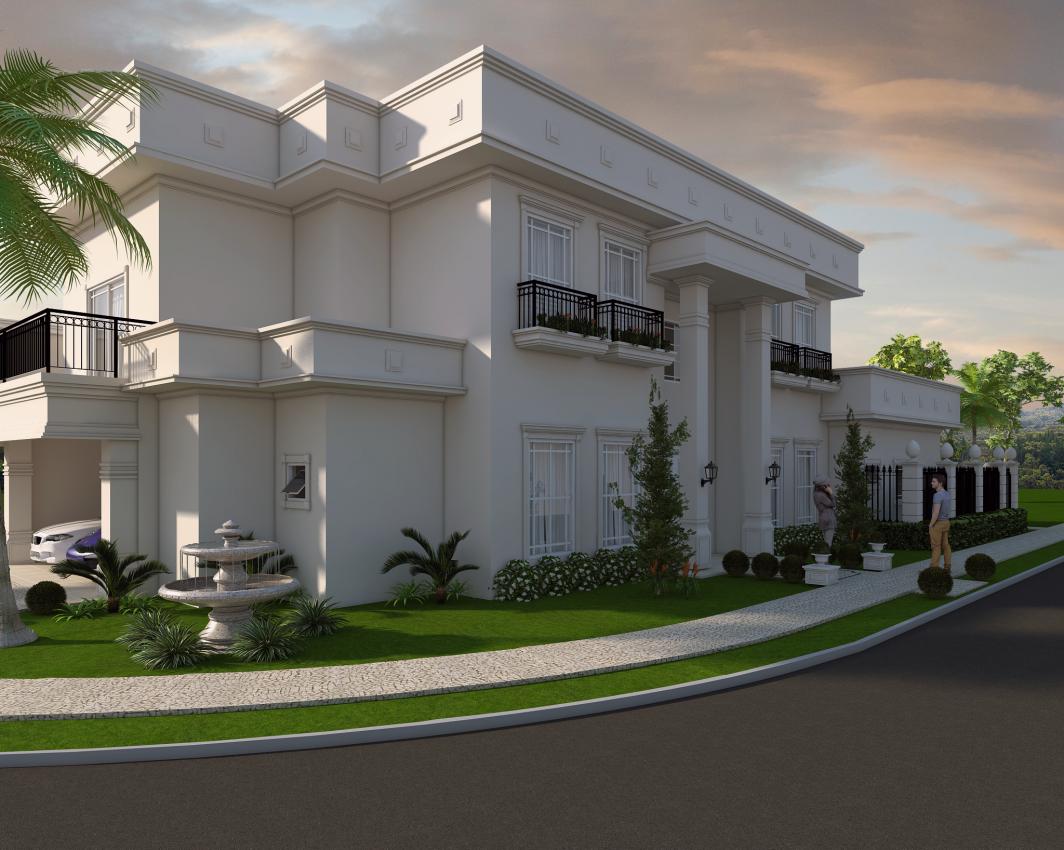 Projeto casa neocl ssica esquina sobrado alto padr o arquiteto for Casa classica moderna