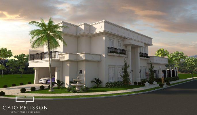 projeto casa sobrado neoclassico terreno esquina fachada classica 3 suites telhado plano