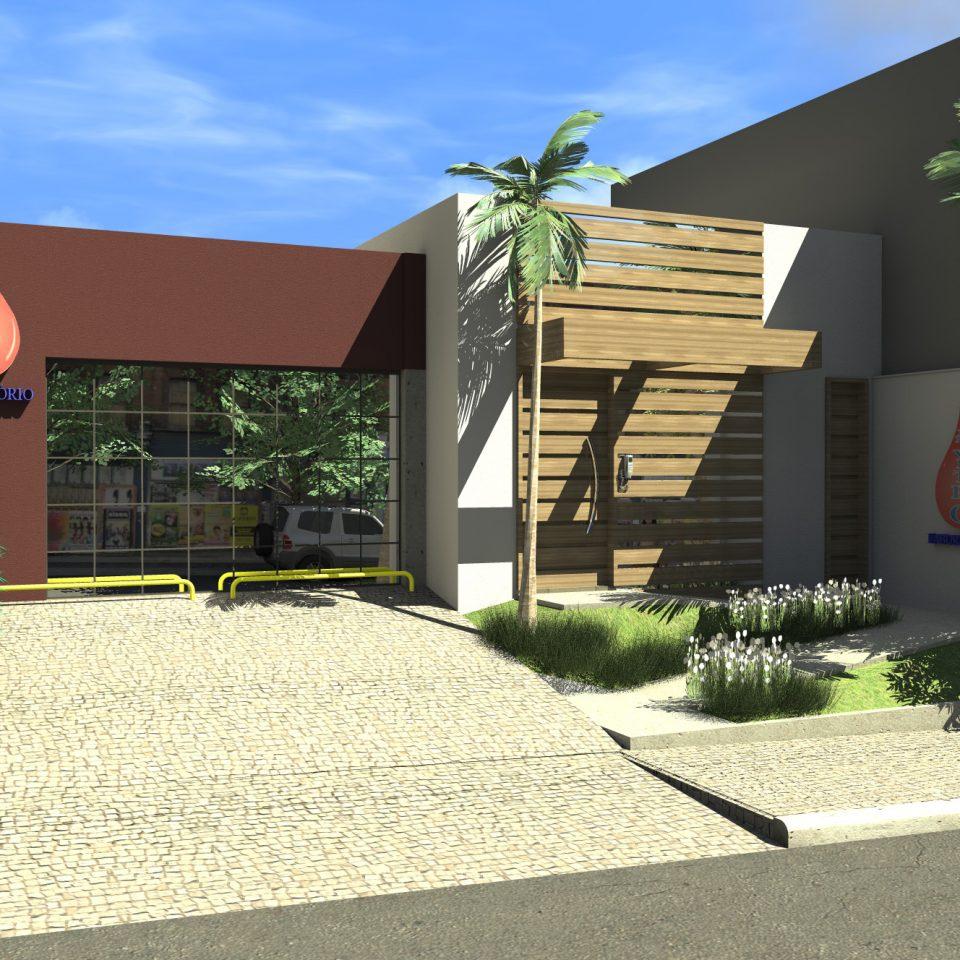 projeto clinica medica laboratório iluminação fachada