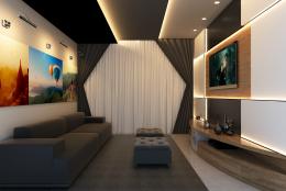Sala de TV integrada com sala de jantar e cozinha. Ambiente aconchegante com temática de veraneio.