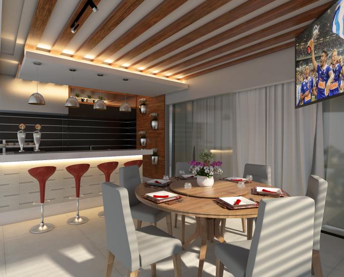 projeto decoração design interior casa sobrado alto padrão varanda gourmet area lazer churrasqueira