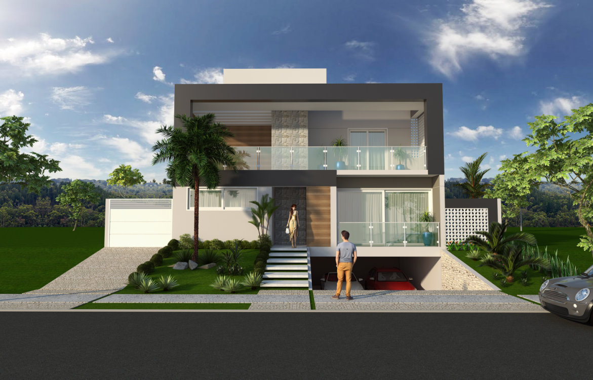 Projeto planta casa sobrado moderno contempor neo for Casa moderno a