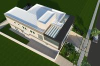 projeto planta casa sobrado moderno contemporâneo garagem subterrânea arquiteto alto padrão fachada com estrutura metálica