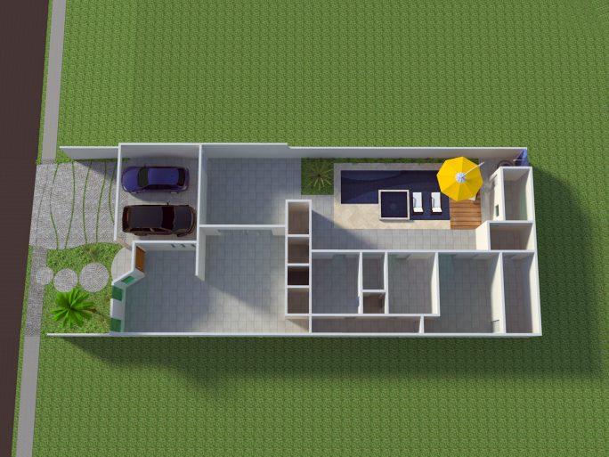 projeto planta construir casa térrea 3 suítes terreno 12x30 arquitetura moderna caixote arquiteto limeira