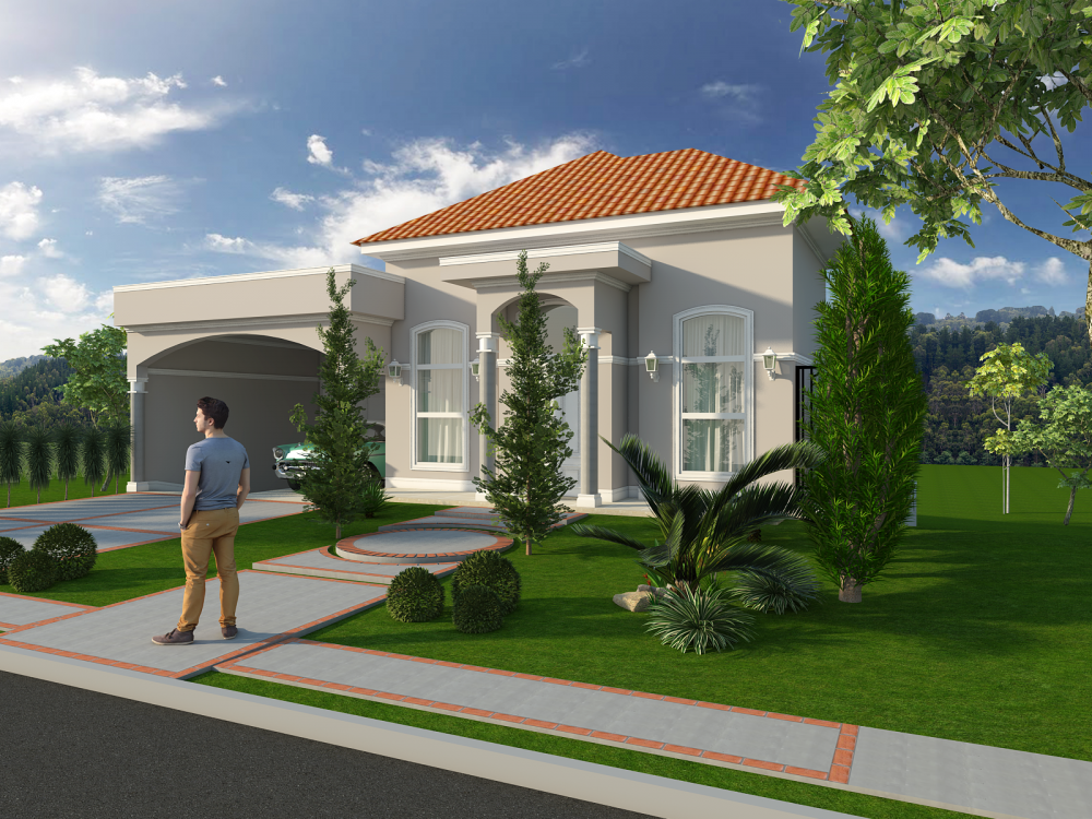 Projeto casa neoclassica estilo americano telhado aparente for Casas estilo americano
