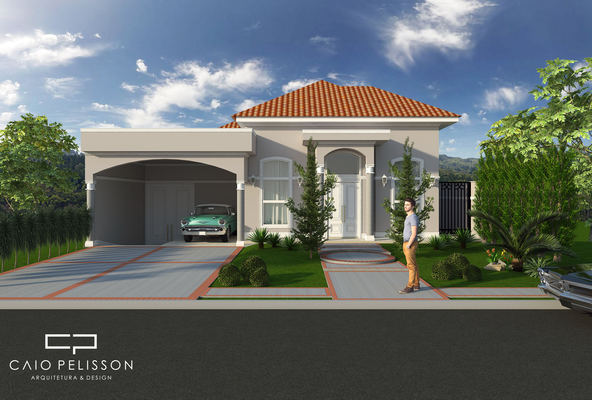 Projeto casa neoclassica estilo americano telhado aparente - Casas estilo americano ...