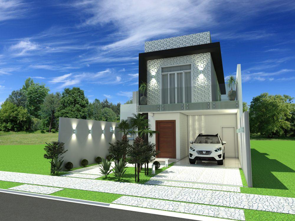 Projeto planta casa sobrado moderno 8x25 3 suites 140 metros for Casa moderno a
