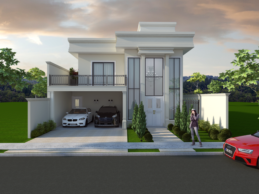 Projeto casa terrea mezanino arquitetura estilo neoclassica for Estilos para casas