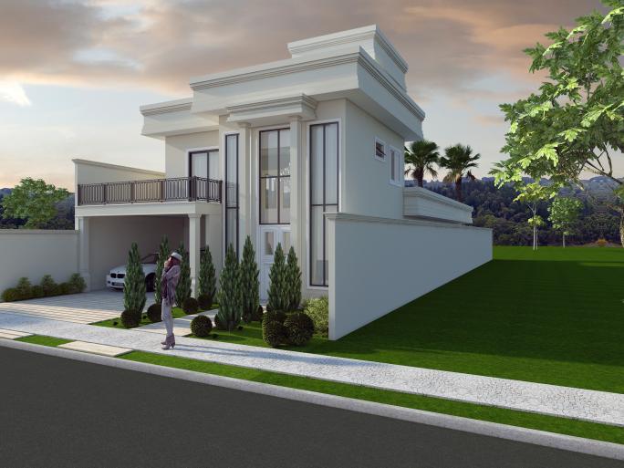 projeto casa terrea mezanino arquitetura estilo neoclassica telhado embutido terreno 12x34 Condominio Lagoa Araras