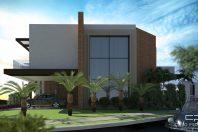 projeto casa térrea mezanino pé direito alto esquina moderna fachada reta contemporânea condomínio limeira
