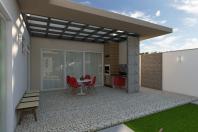 projeto planta casa térrea fachada moderna terreno 12×25 condomínio damha limeira 160 metros