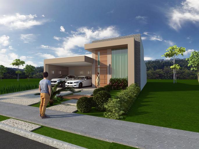 projeto planta casa térrea fachada moderna terreno 12x25 condomínio damha limeira 160 metros