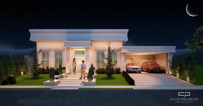fachada neoclassica casa terrea terreno 500-metros condominio arquitetura classica arquiteto caio